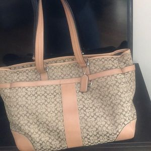 Coach Brown & Tan Signature Diaper / Laptop Bag
